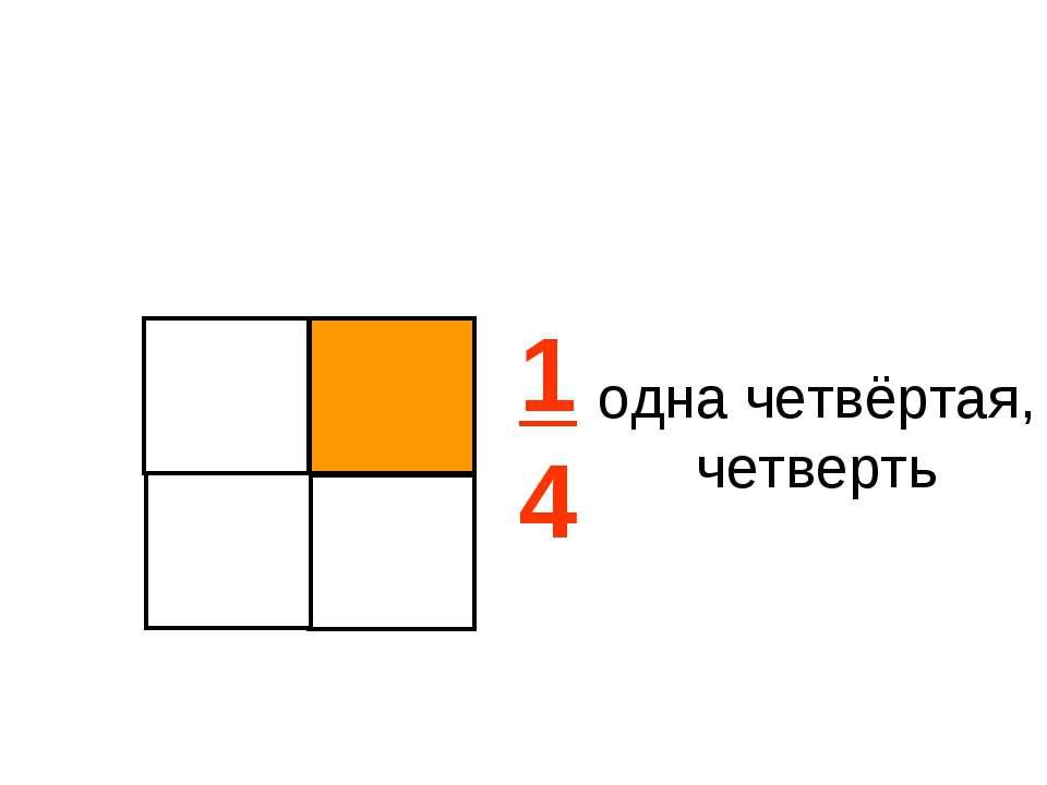 1 4 одна четвёртая, четверть
