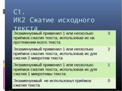 С1. ИК2 Сжатие исходного текста Экзаменуемый применил 1 или несколько приёмов...