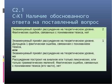 С2.1 С1К1 Наличие обоснованного ответа на поставленный вопрос Экзаменуемый пр...