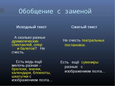Обобщение с заменой Исходный текст Сжатый текст Не счесть театральных постано...