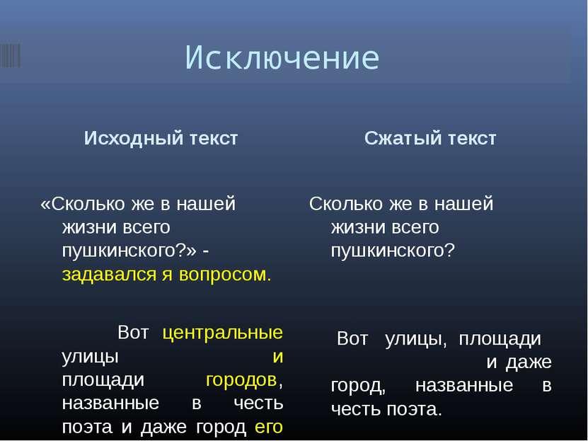 Исключение Исходный текст Сжатый текст «Сколько же в нашей жизни всего пушкин...