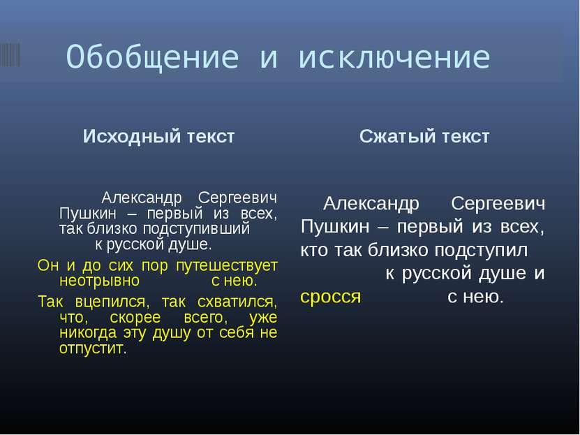 Обобщение и исключение Исходный текст Сжатый текст Александр Сергеевич Пушкин...