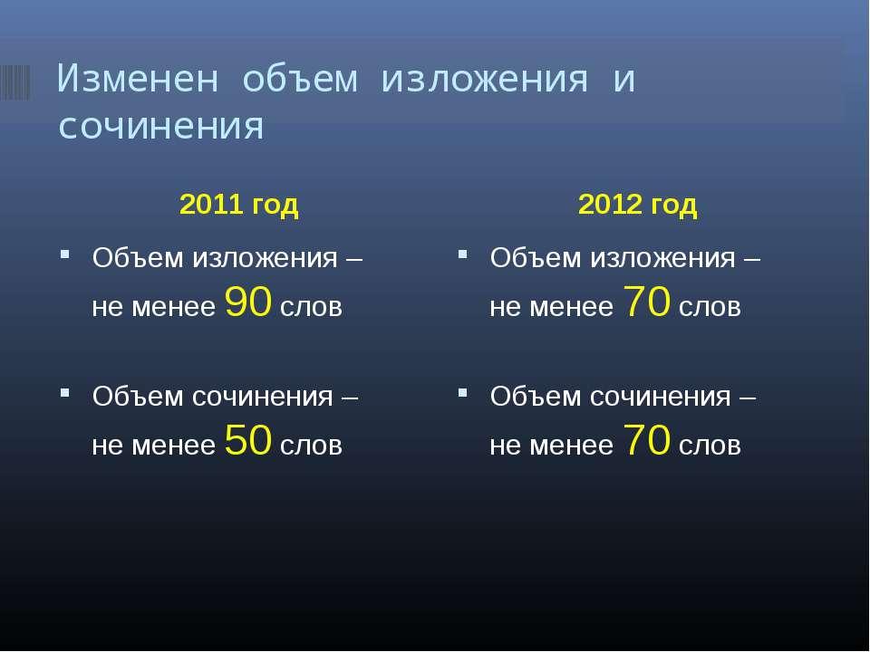 Изменен объем изложения и сочинения 2011 год 2012 год Объем изложения – не ме...