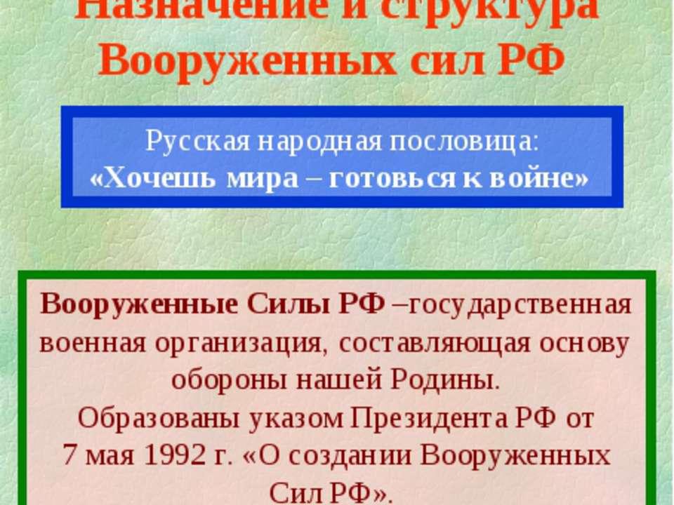 Русская народная пословица: «Хочешь мира – готовься к войне» 1 учебный вопрос...