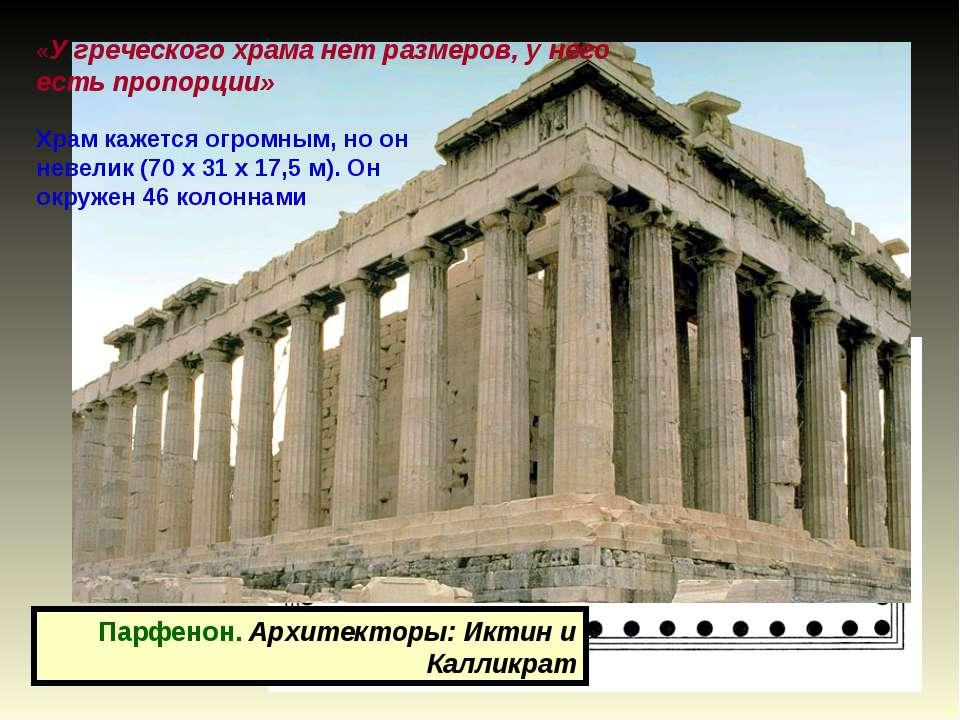 Парфенон. Архитекторы: Иктин и Калликрат Храм кажется огромным, но он невелик...