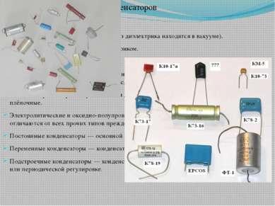 Классификация конденсаторов Конденсаторы вакуумные (обкладки без диэлектрика ...