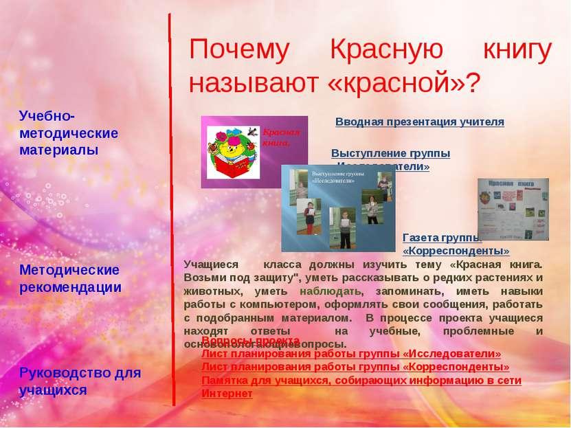 Учебно-методические материалы Методические рекомендации Руководство для учащи...