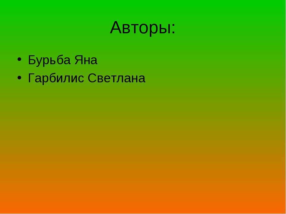 Авторы: Бурьба Яна Гарбилис Светлана