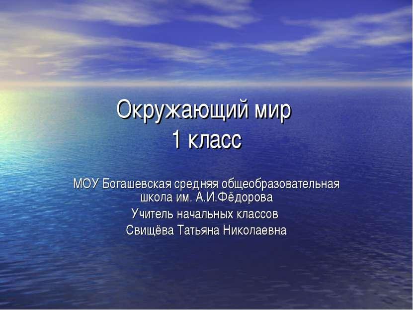 Окружающий мир 1 класс МОУ Богашевская средняя общеобразовательная школа им. ...