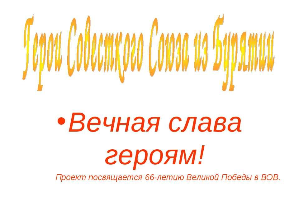 Вечная слава героям! Проект посвящается 66-летию Великой Победы в ВОВ.