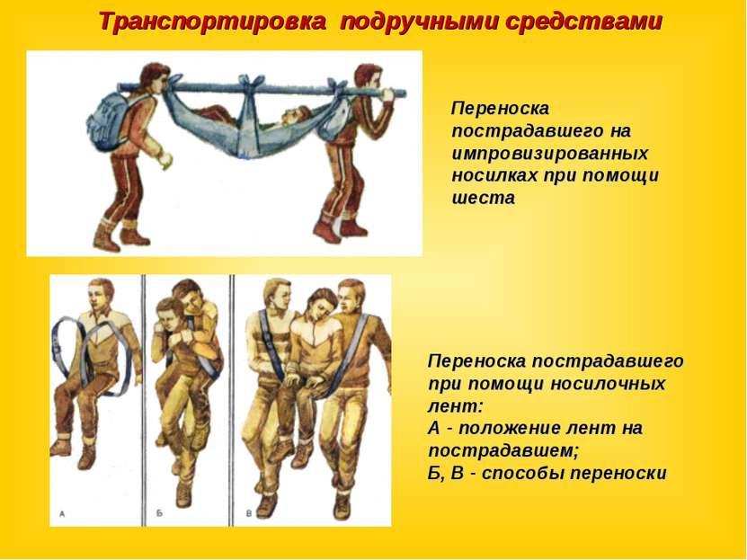 Транспортировка подручными средствами Переноска пострадавшего на импровизиров...