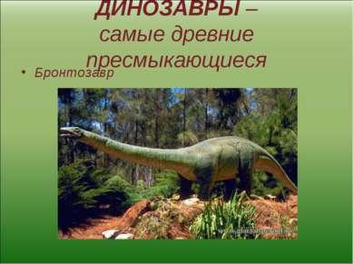 ДИНОЗАВРЫ – самые древние пресмыкающиеся Бронтозавр