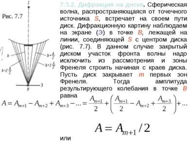 Рис. 7.7 7.3.2. Дифракция на диске. Сферическая волна, распространяющаяся от ...