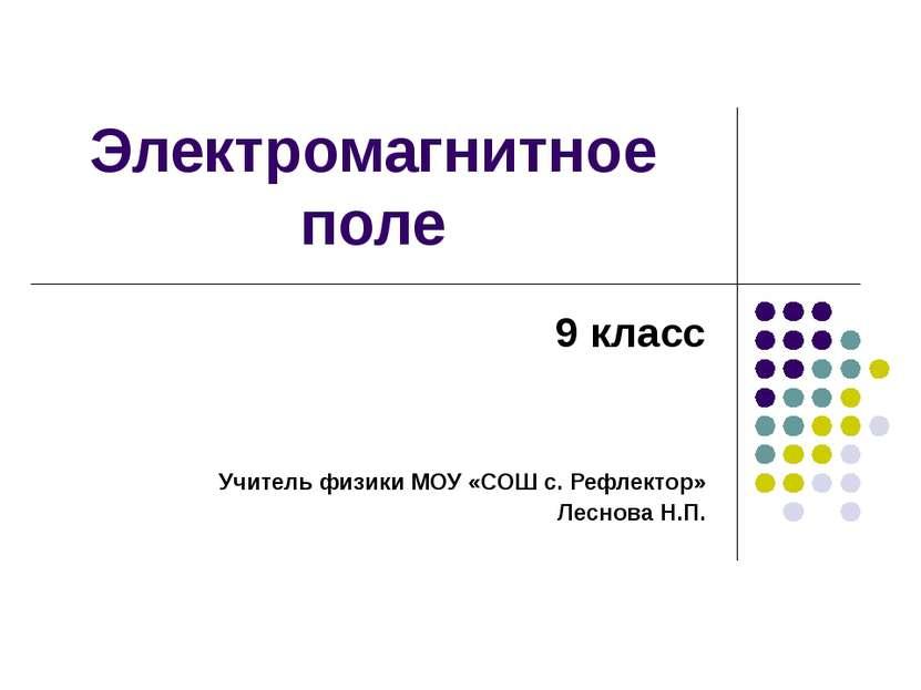 Электромагнитное поле 9 класс Учитель физики МОУ «СОШ с. Рефлектор» Леснова Н.П.
