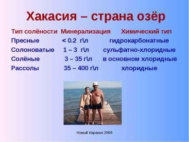Новый Каракан 2009 Хакасия – страна озёр Тип солёности Минерализация Химическ...
