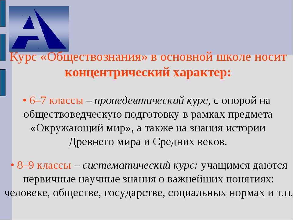 Курс «Обществознания» в основной школе носит концентрический характер: • 6–7 ...