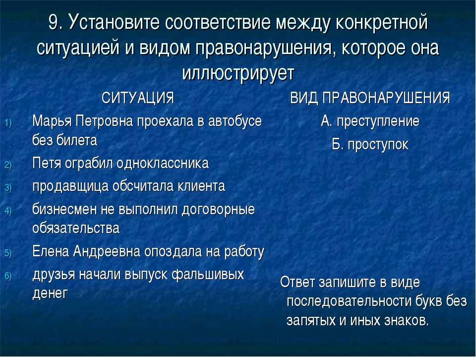 9. Установите соответствие между конкретной ситуацией и видом правонарушения,...