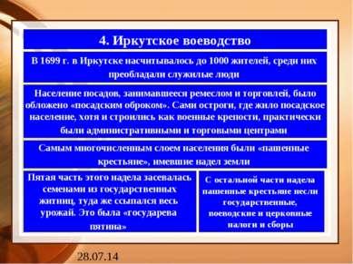 4. Иркутское воеводство В 1699 г. в Иркутске насчитывалось до 1000 жителей, с...