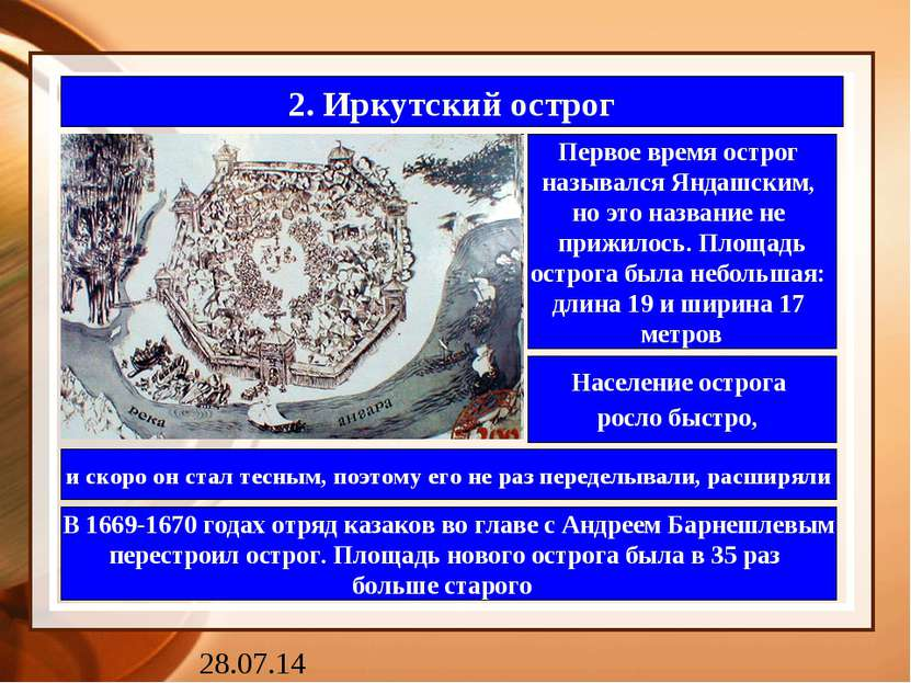 2. Иркутский острог Первое время острог назывался Яндашским, но это название ...