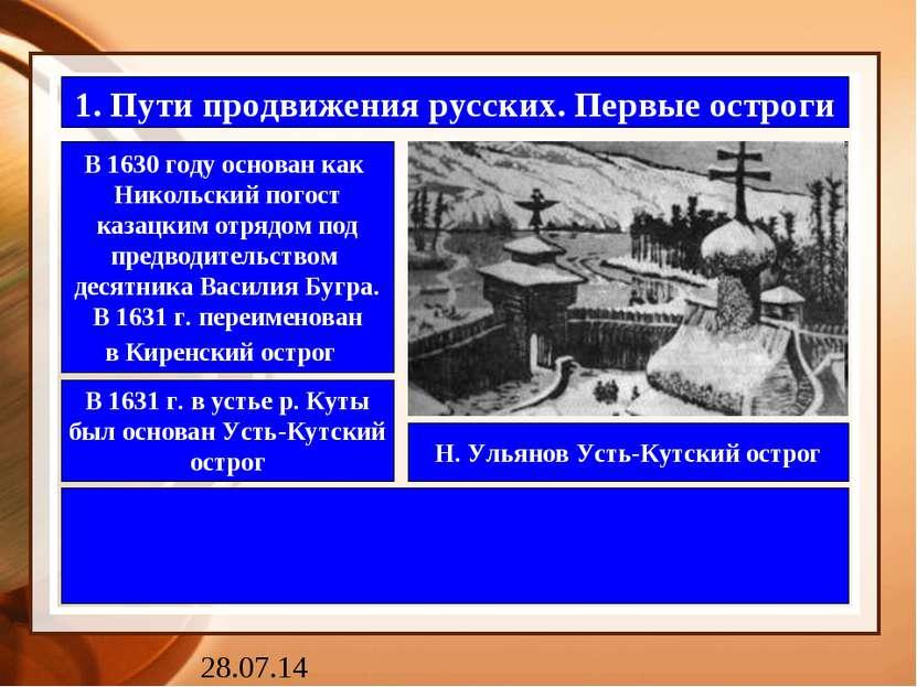 1. Пути продвижения русских. Первые остроги В 1630 году основан как Никольски...