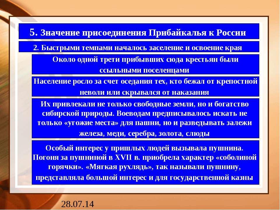 5. Значение присоединения Прибайкалья к России 2. Быстрыми темпами началось з...