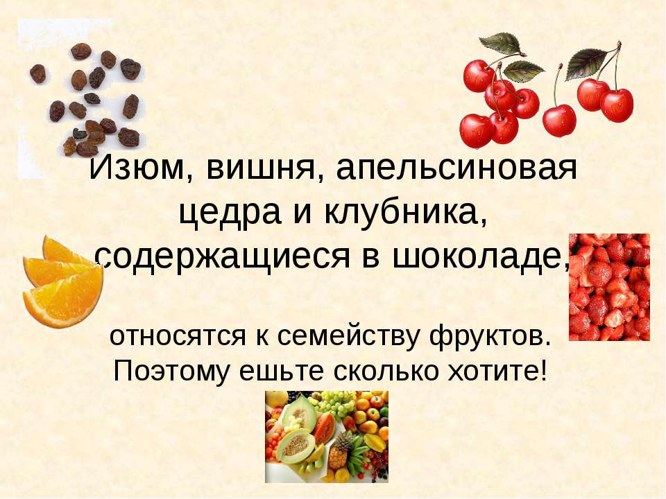 Изюм, вишня, апельсиновая цедра и клубника, содержащиеся в шоколаде, относятс...