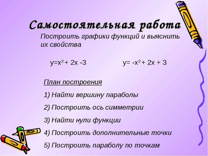 Самостоятельная работа Построить графики функций и выяснить их свойства y=x2 ...