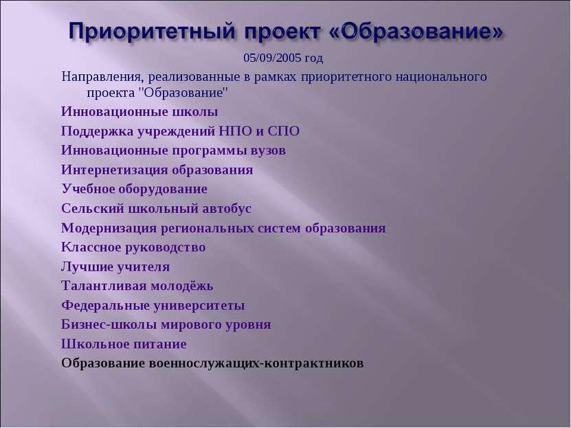 05/09/2005 год Направления, реализованные в рамках приоритетного национальног...