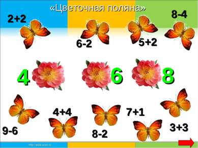 2+2 6-2 5+2 8-4 9-6 4+4 8-2 7+1 3+3 6 4 8 «Цветочная поляна»