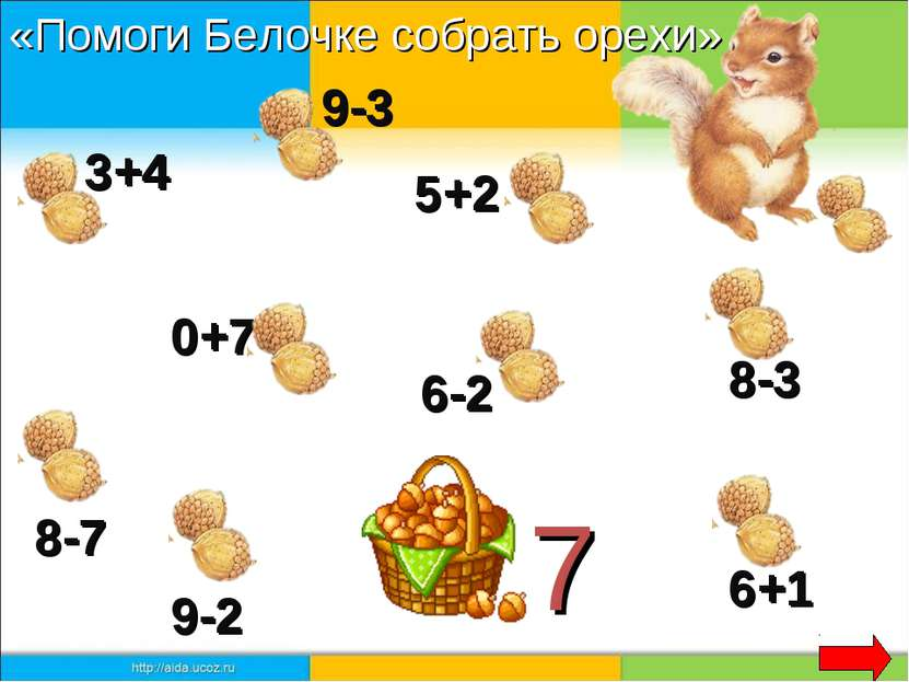 7 3+4 9-3 5+2 0+7 8-7 8-3 9-2 6+1 6-2 «Помоги Белочке собрать орехи»