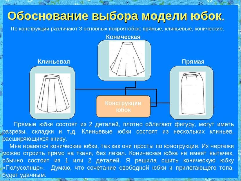 Обоснование выбора модели юбок. По конструкции различают 3 основных покроя юб...
