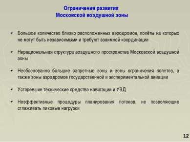 Ограничения развития Московской воздушной зоны Большое количество близко расп...