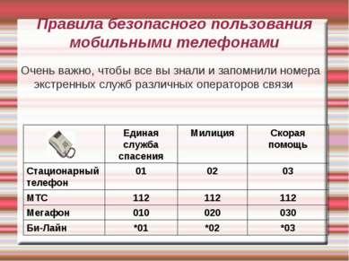 Правила безопасного пользования мобильными телефонами Очень важно, чтобы все ...