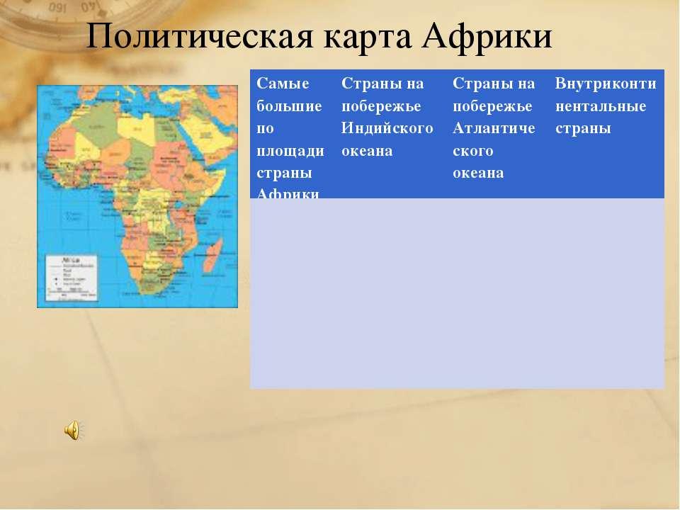 Политическая карта Африки Самые большие по площади страны Африки Страны на по...
