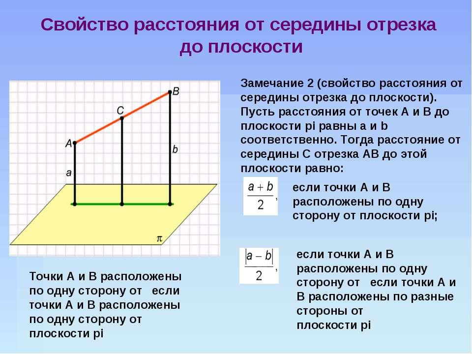 Замечание 2 (свойство расстояния от середины отрезка до плоскости). Пусть рас...