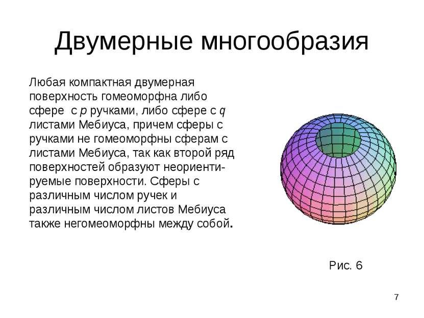 * Двумерные многообразия Любая компактная двумерная поверхность гомеоморфна л...