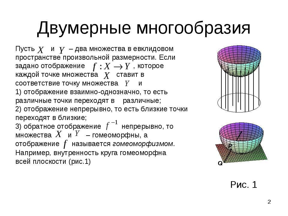 * Двумерные многообразия Пусть и – два множества в евклидовом пространстве пр...