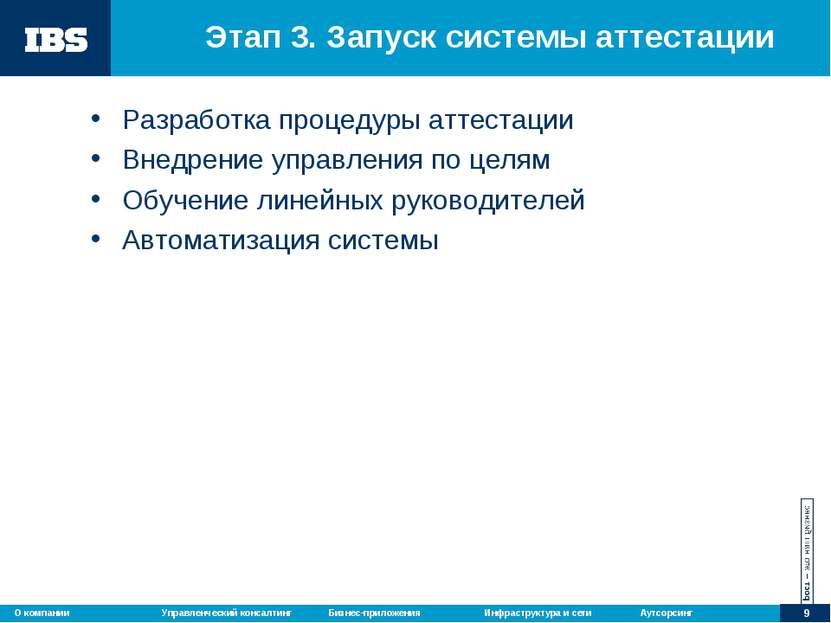 Этап 3. Запуск системы аттестации Разработка процедуры аттестации Внедрение у...