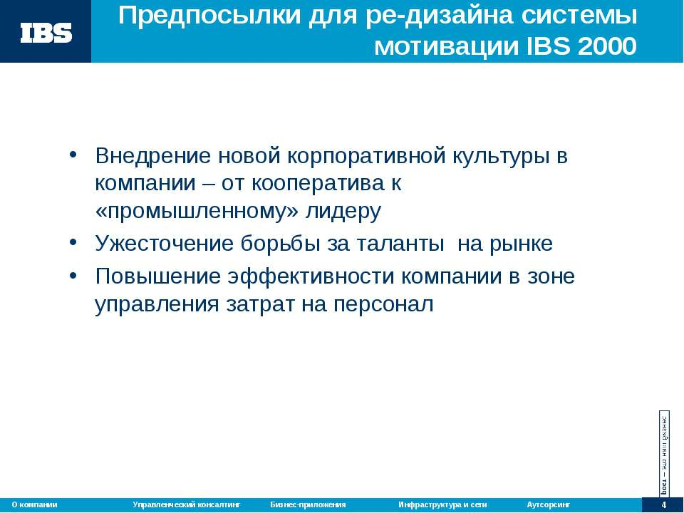 Предпосылки для ре-дизайна системы мотивации IBS 2000 Внедрение новой корпора...