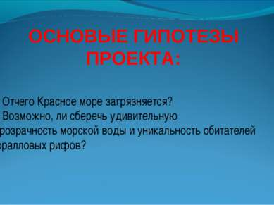 ОСНОВЫЕ ГИПОТЕЗЫ ПРОЕКТА: 1. Отчего Красное море загрязняется? 2. Возможно, л...