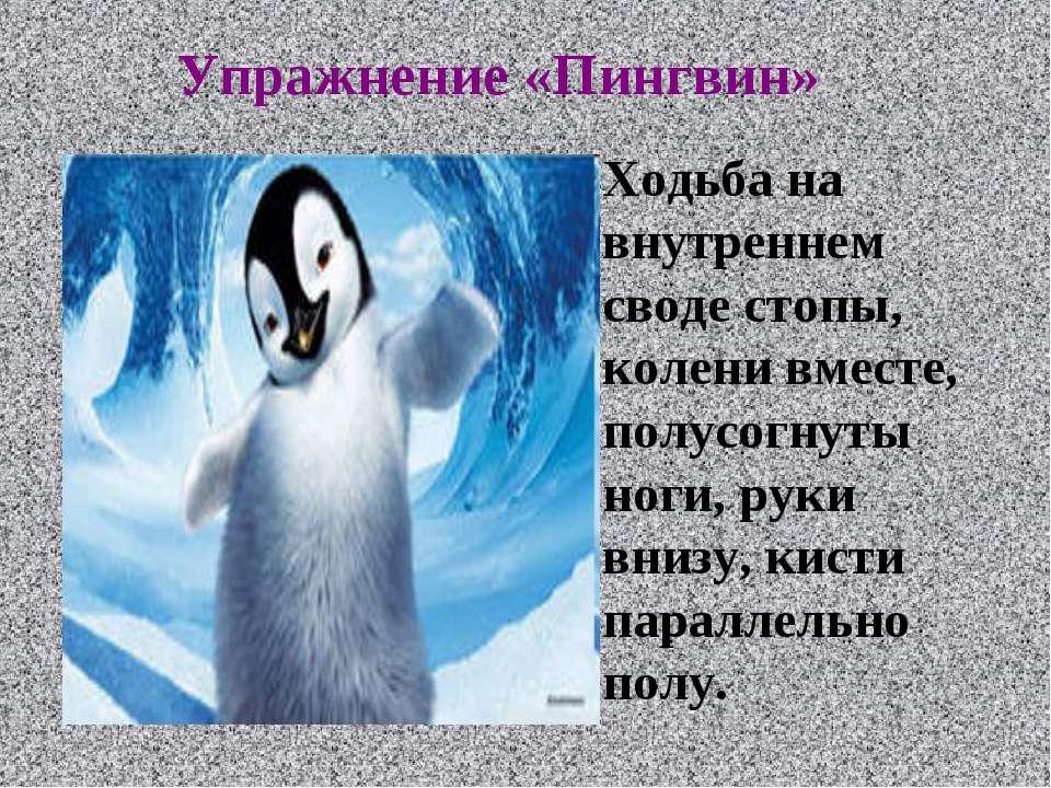 Упражнение «Пингвин» Ходьба на внутреннем своде стопы, колени вместе, полусог...