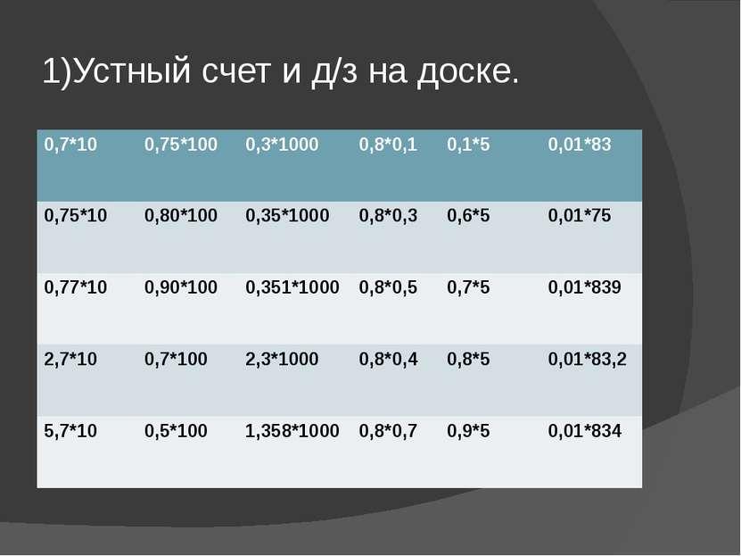 1)Устный счет и д/з на доске. 0,7*10 0,75*100 0,3*1000 0,8*0,1 0,1*5 0,01*83 ...