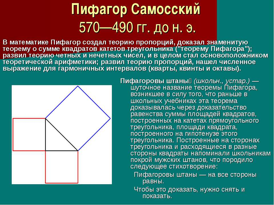 Пифагор Самосский 570—490 гг. до н. э. Пифагоровы штаны (школьн., устар.)— ш...