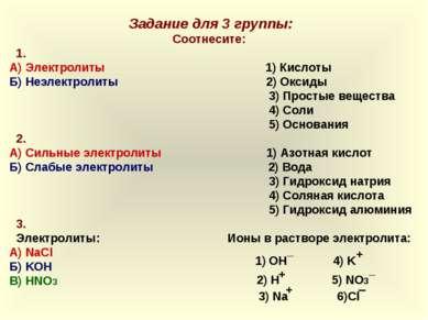 Задание для 3 группы: Соотнесите: 1. А) Электролиты 1) Кислоты Б) Неэлектроли...