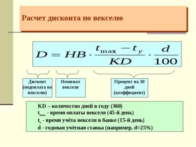 Расчет дисконта по векселю KD – количество дней в году (360) tmax - время опл...