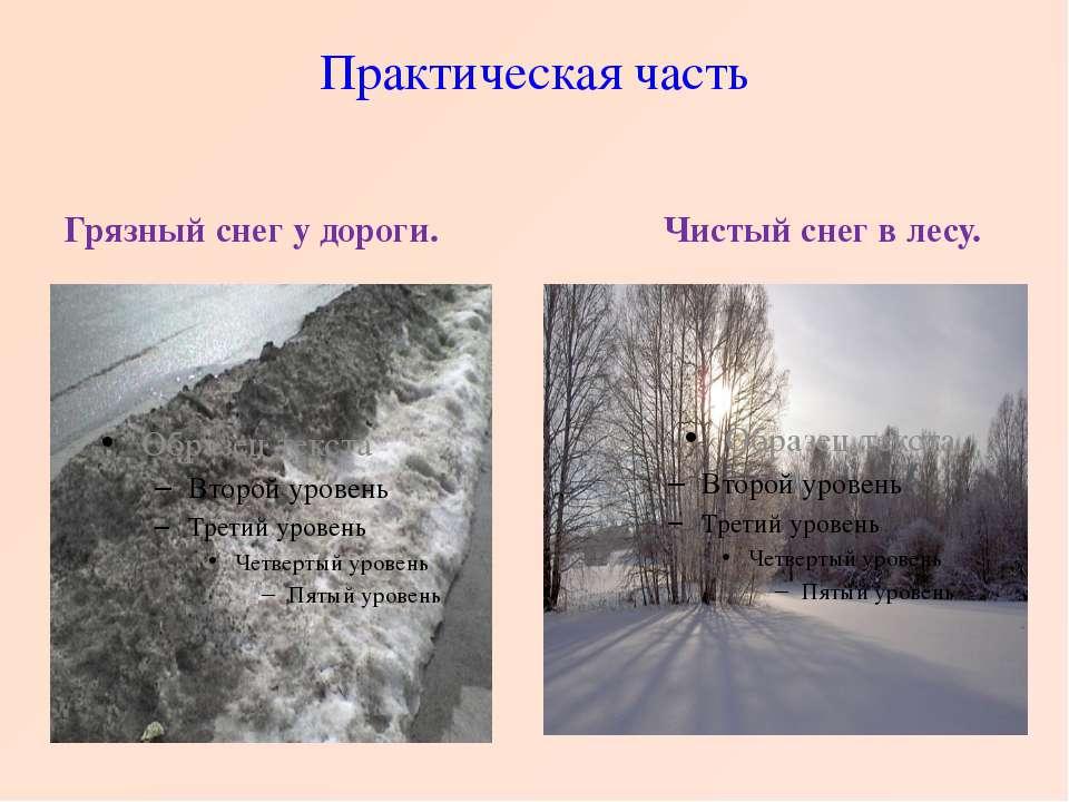 Практическая часть Грязный снег у дороги. Чистый снег в лесу.