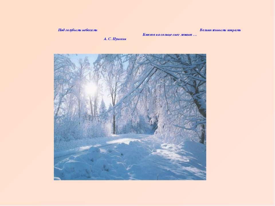 Под голубыми небесами Великолепными коврами Блестя на солнце снег лежит … А. ...