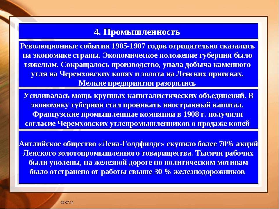 * 4. Промышленность Революционные события 1905-1907 годов отрицательно сказал...