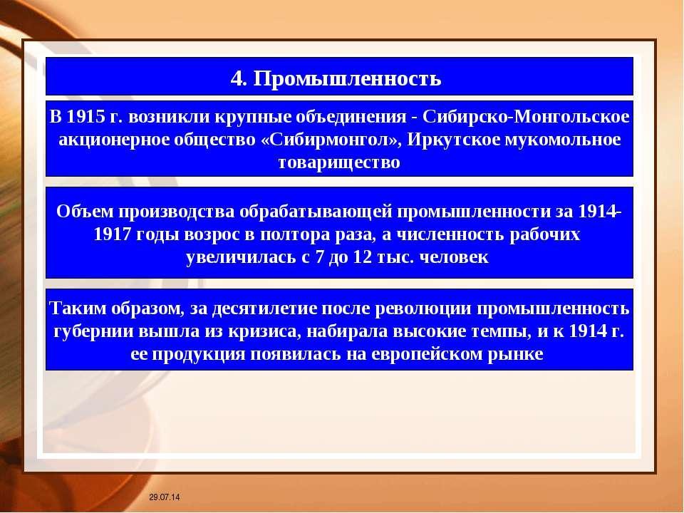 * 4. Промышленность В 1915 г. возникли крупные объединения - Сибирско-Монголь...