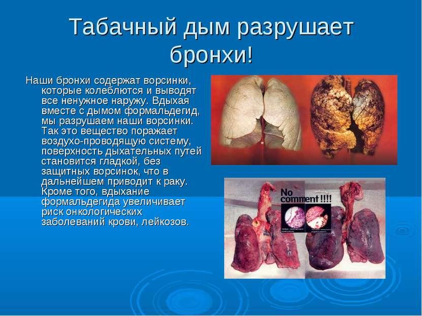 Табачный дым разрушает бронхи! Наши бронхи содержат ворсинки, которые колеблю...
